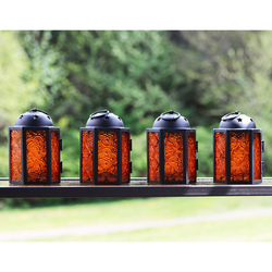 Decorative 4pc Mini Amber Candle Lantern