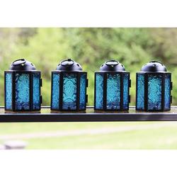 Decorative 4pc Mini Blue Candle Lanterns