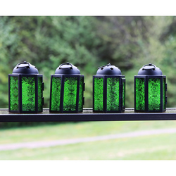 Decorative 4pc Mini Green Candle Lanterns