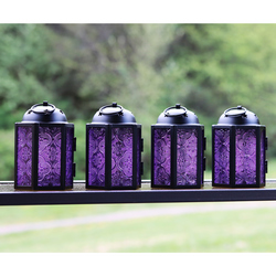 Decorative 4pc Mini Purple Candle Lanterns