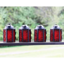 Decorative 4pc Mini Red Candle Lanterns