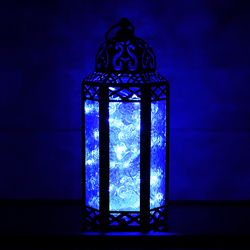 Blue Candle Lanterns with LED Fairy Lights