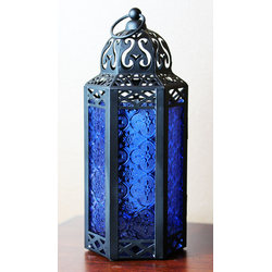Cobalt Candle Lanterns with LED Fairy Lights
